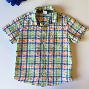 GYMBOREE 3T SHORT SLEEVE ORANGE/ GREEN DRESS SHIRT